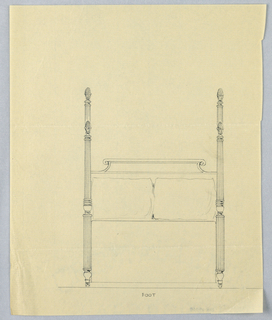 Drawing, Design for Four-poster Bed with Fluted Posts and Finials