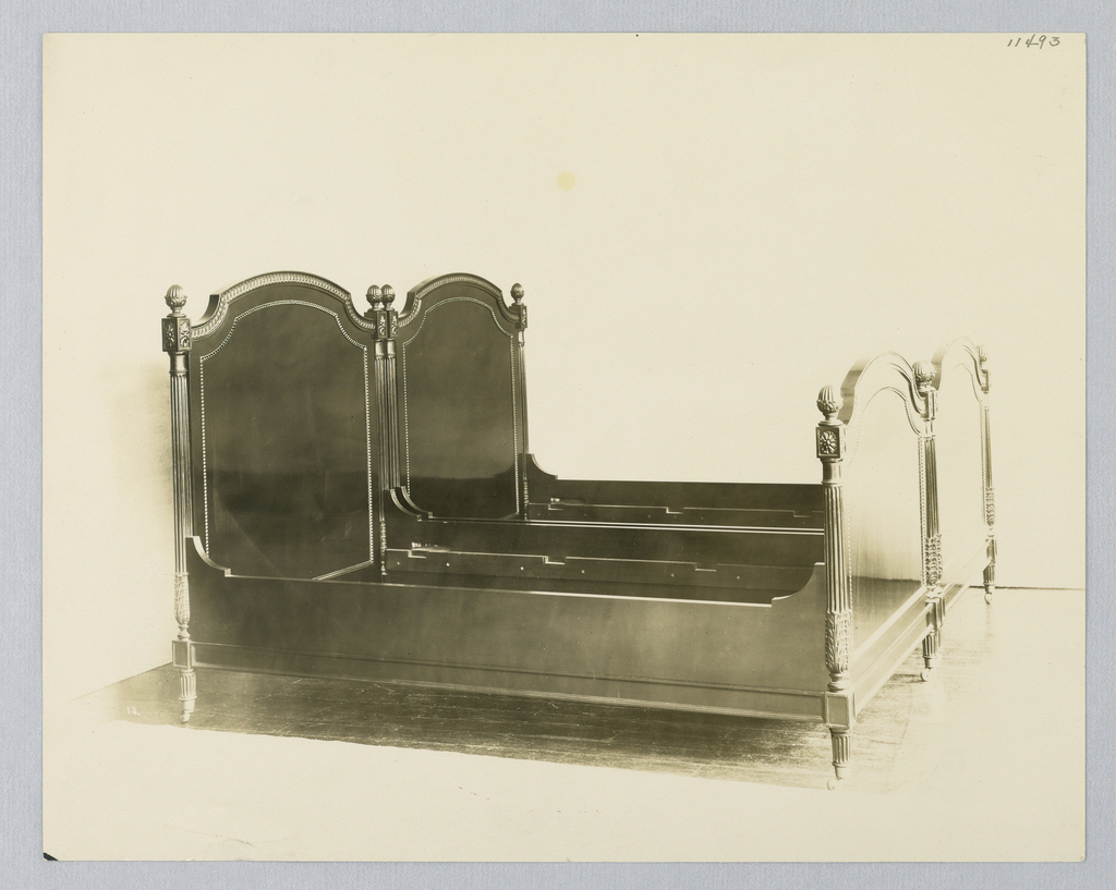 Drawing, Design for Bed with Fluted Posts and Inlaid Headboard and Footboard