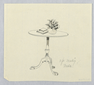 Drawing, Design for Small Round Mahogany Table with Vase of Flowers and Books Atop, 1900–05