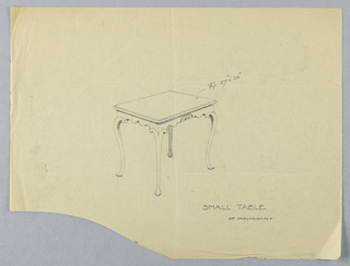 Drawing, Design for Small Mahogany Table with Fan Motifs
