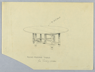 Drawing, Design for Round Folding LIvingroom Table