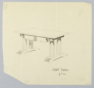 Drawing, Design for Hall Table with Leaf Motifs on Pediment