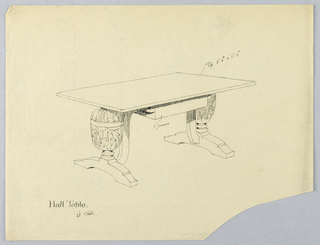 Drawing, Design for Oak Hall Table with Single Drawer