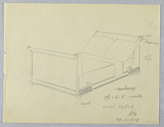 Drawing, Design for Mahogany Bed with Brass Rosettes and Carved Meanders