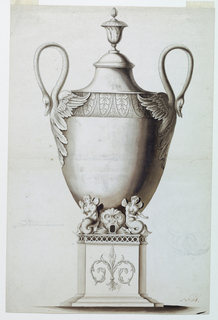 A pedestal decorated with a palmette and on top is the receptacle for a spirit lamp. The egg-shaped body of the urn rises between two mermaids flanking the dolphin head with the hole for the spout which is lightly sketched in pencil at left. The foreparts of two swans form the handles.