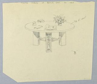 "Drawing, Design for Round Black Oak Den Table ""B"""