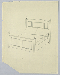 Drawing, Design for Bed with Cut-out Headboard