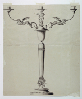 Chimarae and a central rod at base support the shaft which is shaped as a round gaine and ends with a vase, topped by Cupid and a socket. Two branches are composed of scrolls and winged pathers. Fragment of the red numbering, bottom right, cut off.