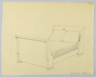 Drawing, Design for Double Bed with Volutes