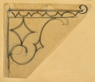 Design for an ornamental wall-mounted bracket to be executed in iron.