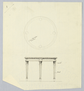Drawing, Design for Round Table with Carved Border in Plan and Elevation, 1900–05
