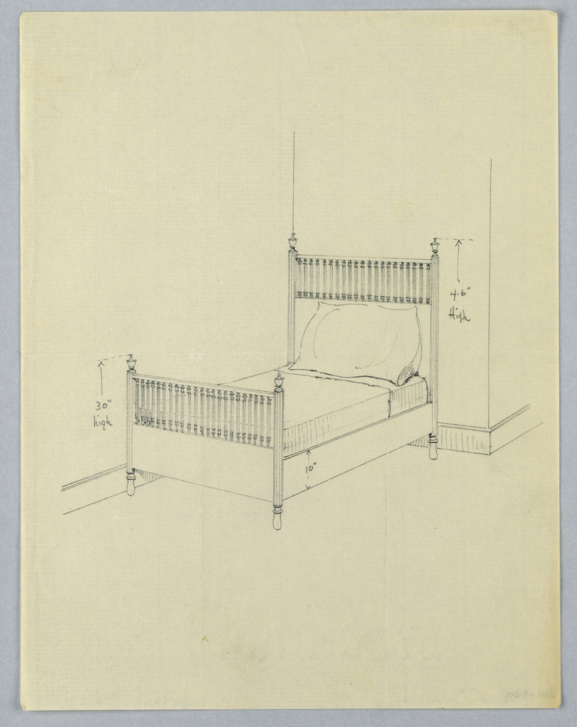Drawing, Design for Bed with Fluted Posts and Balustrades