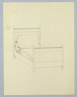 Drawing, Design for Twin Bed with Round Posts