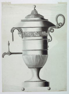 The handle formed by two snakes on the right. The spout and a ring as a supplementary handle are at left. A shell surrounds the bottom of the body, and a band with a grape vine rinceau in the top section.