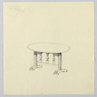 Drawing, Design for Small Oval Table with Fluted Columnar Supports and Square Base
