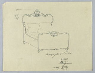 Drawing, Design for Mahogany Bed with Carved Floral Motifs