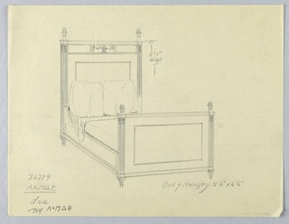 Drawing, Design for Mahogany Bed with Carved Vase and Garland Decoration