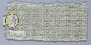 White cotton warp with rows of white cotton and white wool wefts making horizontal stripes. Loose, open weave with weft floats at intervals.