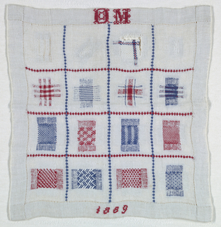 Sixteen squares of pattern darning in red, white, and blue.