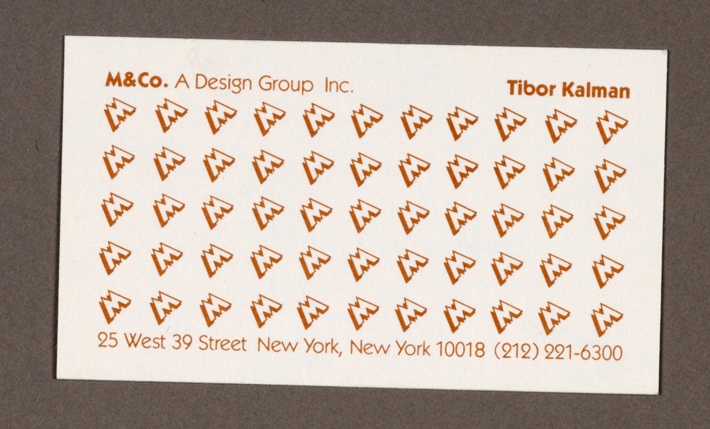 Business Card, M & Co. Business Card