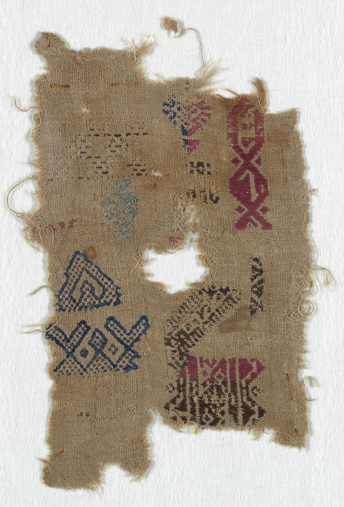 Fragment embroidered in multicolored silk.