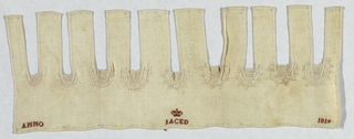 Nine plackets of needlelace surrounded with decorative stitching.  In the center a crown over the letters I A C E D.