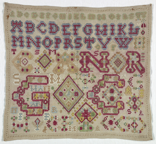 Alphabets and initials in bright color. Decorative hem over withdrawn element work on four sides.
