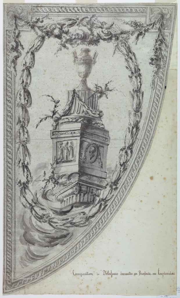 This triangular shaped frame holds a composition of an Ionic pediment with an urn on top; the whole surrounded by an ovoidal wreath. A flower swag suspened from rosettes at the upper corners.