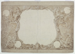 "Drawing, Design for an Ornamental Border Used for the Surround to the General Chart in John Pine's ""Tapestry Hangings in the House of Lords"""