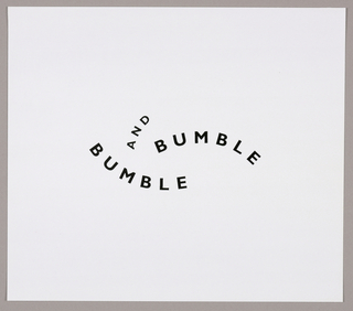 The sans-serif Bumble and Bumble are on two separate levels, with the letters le of the concave one, lower and on the left, appearing underneath the letters bu of the convex one, upper and on the right. The connecting word and is convex and positioned vertically from above the m in the concave bumble.