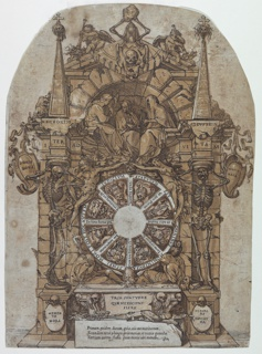 Design for a wall tomb featuring the triumph of death with three fates in an architectural frame above a wheel of fortune flanked by skeletons; a skull and an hour glass at top and with wheel intended to spin at center. Top corners of paper cut round.