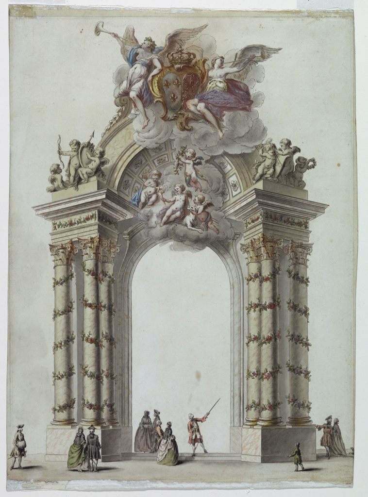 Drawing, Gate to the Temple of Hymen, Pavilion Erected in the Place Dauphin, Paris, France