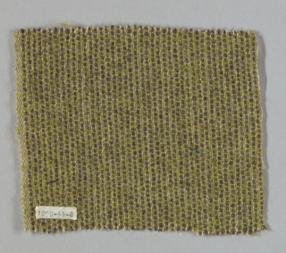 Brown warp in pairs used alternately with two white warps used singly. Weft is pale green. Sample is green-brown with fine light stripe.