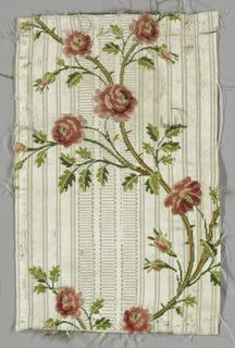 serpentine slender rose stem on self patterned white ground