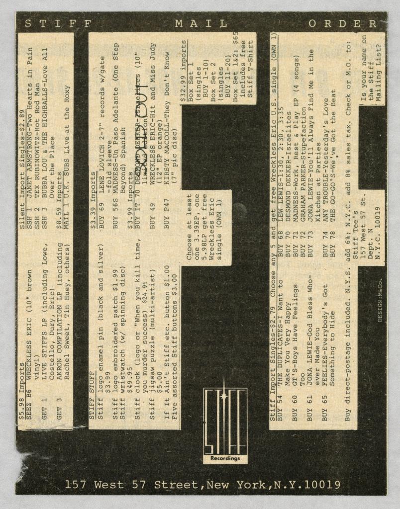 Advertisement, Stiff Records