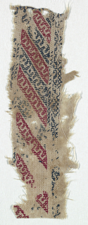 Fragment of a band with diagonal alternating stripes of red and blue with small interlocked pattern.