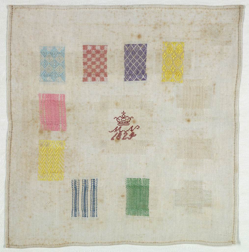 Eleven squares of pattern darning.  Insert patch in center with crowned monogram and date.