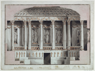 Section of a colonnaded and domed building.  The entrance to the building is at the center, below the colonnade.  The columns have Corinthian capitals, behind them, a wall with large niches, occupied by large statues.  The dome is low and coffered.