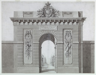 Drawing, Design for a monumental gateway honoring the arrival of Marie Antoinette at Versailles, ca. 1770