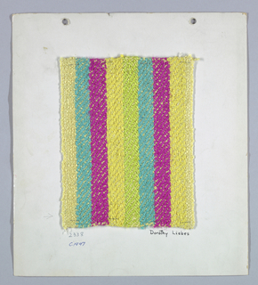 Sample in wide stripes of yellow, turquoise, dark pink and yellow-green with a yellow boucle warp and plied weft yarns.