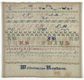 """Seven alphabets in differing lettering and four sets of numbers divided by five borders. Signed """"Wilhelmine Neuhaus 1850."""""""