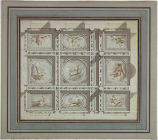 The depicted part of the ceiling shows nine coffers of various shapes (rectangular at each corner, two oval, two octagonal, and one round at the center).  Each coffer includes an image of a reclining female nude on a cloud.  There is a decorative border between the coffers.