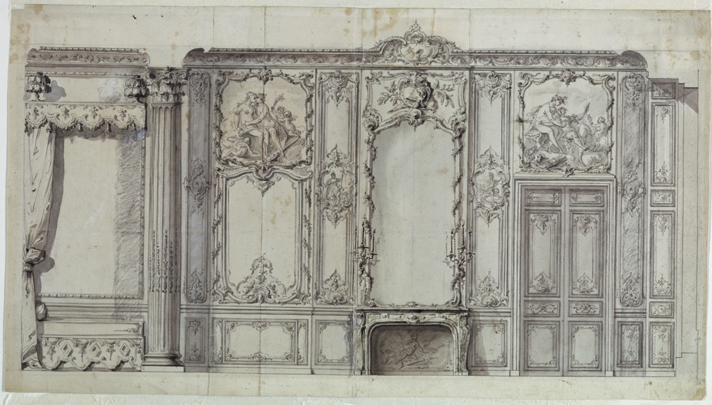 Drawing, Wall Elevation of the Bedroom of the Prince de Rohan, Hôtel de Soubise, Paris