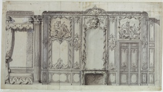 The elevation shows the bed alcove, seen from the side left, and set in beside one (of a pair) Corinthian columns. The rest of the interior shows a fireplace, center, and a double paneled door at the right. The wooden paneling is richly carved and painted, as indicated for the over-doors and the panel at left of the fireplace.