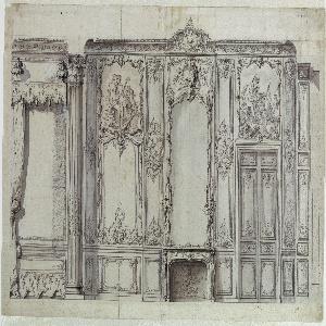 Drawing, Wall Elevation of the Bedroom of the Prince de Rohan, Hôtel de Soubise, Paris