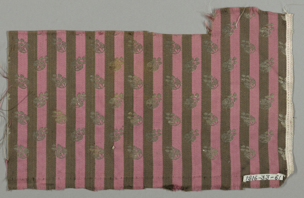 Fragment showing vertical stripes of purple and black with small allover white flower figure.