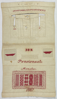 Buttonholes, placket, an alphabet, mending, and patterns in red on white.