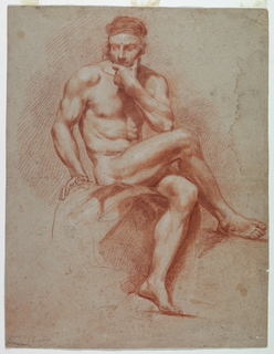 Male figure sitting upon ston, right leg crossed over left with foot standing upon support. Chin is supported by left hand.