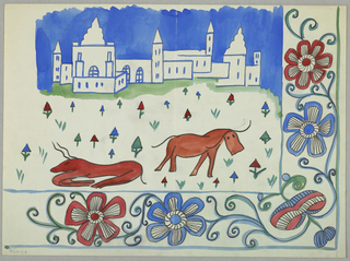 Landscape with animals, town in the background and flowers in the front.