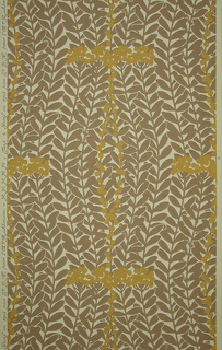 Overall pattern of wavy vining foliage, with intermittent bands of flowers or berries. Printed in mauve and yellow ocher on white ground.